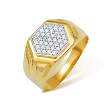 Ishtaa 0065 Hallmarked 18k Yellow Gold CZ Mens Ring