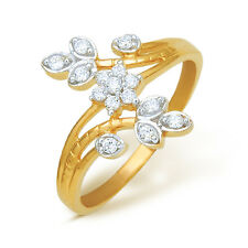Ishtaa 0459 Hallmarked 18k Yellow Gold CZ Ladies Ring