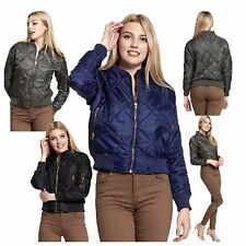NEW WOMENS LADIES OLIVIA MA1 QUILTED BOMBER JACKET WARM CASUAL BIKER STYLE COAT