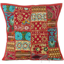 "LARGE SELECTION - 16"" BURGUNDY DECORATIVE CUSHION PILLOW THROW COVER India Decor"