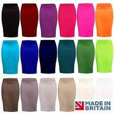 Ladies PLAIN Stretch OFFICE Bodycon Midi PENCIL SKIRT Fit Size 8-18 UK MADE