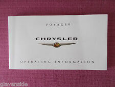 CHRYSLER VOYAGER & GRAND VOYAGER OWNERS MANUAL - HANDBOOK - GUIDE ACQ 4863