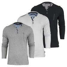 Brave Soul Mens 'Sharp' Y Neck Long Sleeve Button Zip Tee T-Shirt Top Size S-XL