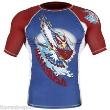 HAYABUSA NINJA FALCON RASHGUARD SHORT SLEEVE - BLUE / RE  MMA Sparring Training