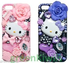 3D Bling Cristal De luxe Strass Rose Hello Kitty Diamant iPhone 5 Coque Rose