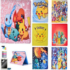 Pokemon Cartoon Pikachu Tablet Case for Apple iPad PU Leather Stand Folio Cover