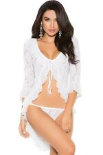 Lingerie Woman White Womens Long Sleeve Lace Jacket with Thong Nude Sexy