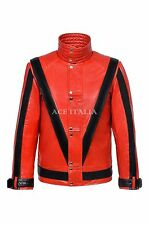 New THRILLER Men's Red / Black  Michael Jackson Style MUSIC Real Leather Jacket