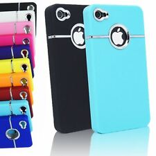 LUXURY DELUXE CHROME TRIM PLASTIC BACK CASE COVER FOR IPHONE 4G 4S 4