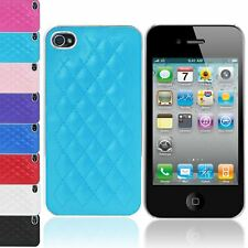 SOFT QUILTED PU LEATHER PLASTIC CHROME BACK CASE COVER FOR IPHONE 4G 4S 4