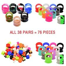 38 PAIRS SOFT SILICONE EAR GAUGES STRETCHER KITS-EAR TUNNELS-EAR PLUGS-JEWELRY