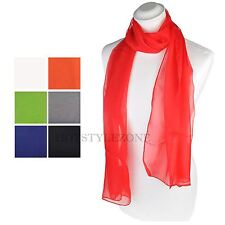 Women Ladies Soft Plain Chiffon Scarf Light Neck Hijab Scarves Shawl Wrap