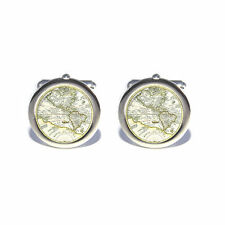 Travellers Ancient World Old Map Globe Cufflinks - With Personalised Chrome Box
