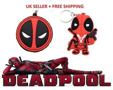 New Deadpool Large Rubber Keyring. Choice of Two Styles - Character or Face