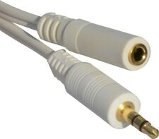 1m 2M - 5M Meter PRO White 3.5mm Jack Male to Male Stereo Audio Cable Lead GOLD