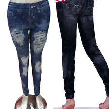 Sexy JEANS-LOOK-LEGGINGS Jeggings Leggins JEANS-Destroyed-Look Hose Treggins