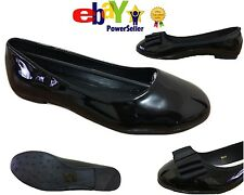 NEW UK LADIES WORK SCHOOL DOLLY SHOES GIRLS FLATS FORMAL BALLERINA PUMPS PATENT