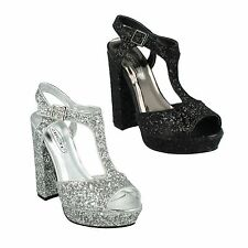 OFFERTA f10567 Donna Spot On tacco largo alto Casual paillettes Sandali da party