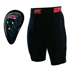 UFC COMPRESSION SHORTS & CUP ADULT GROIN GUARD BLACK Training Sparring Gym