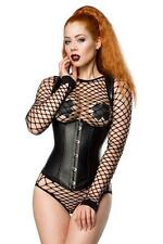 Corsetto nero wetlook donna corpetto bustino dark trendy sexy latuamoda uy 11862