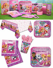 Pink Paw Patrol Girls Birthday Party Supplies Tableware Plates Napkins Cups