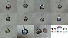 Unique Present Gift Birthstone Glass Floating Charm Necklace, Handmade Jewellery
