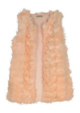 Girls Kids Childrens Long Faux Fur Gilet Waistcoat Hook and Eye 4-14 years