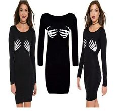 WOMENS LADIES HALLOWEEN SKELETON BONES HANDS PRINT TUNIC DRESS PLUS SIZE 8-22