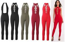 NEW WOMENS LADIES Lace Up Tie Front High Neck Open Back CREPE Jumpsuit UK 8-14