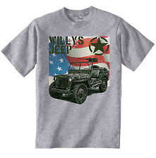 WILLYS JEEP USA ARMY WWII - NEW COTTON GREY TSHIRT