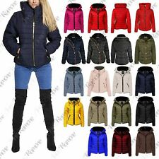 New Ladies Quilted Puffer Bubble Padded Jacket Fur Collar Gold Zipper Thick Coat