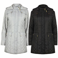 Ladies Womens Quilted Padded Autumn Winter Rain Proof Coat Jacket Size 10 to 24