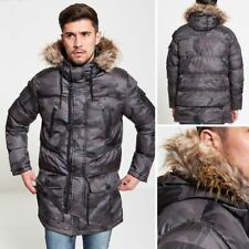 BRAVE SOUL MENS BUBBLE PARKA JACKET CAMOUFLAGE FUR HOODED PADDED WINTER COAT