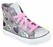 Skechers Childrens Shuffles Starlet Pose 10583 Silver Twinkle Toes
