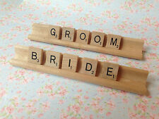 BRIDE AND GROOM Wooden Scrabble Tiles & Holder Racks Wedding Place Settings