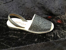 Avarcas-  womens - sandals- glitter- leather - Black  - sizes 3 to 8