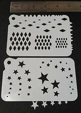 2 in 1 Airbrush Paint Stencils Diamonds Stars Face Body Wall Cake Decoration
