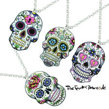 FUNKY LARGE MEXICAN SUGAR SKULL NECKLACE DAY OF THE DEAD EMO GOTHIC GIFT NOVELTY