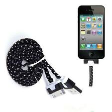 BLACK Braided Usb Data Sync Charger Cable For iPhone 4 4S 3G 3GS iPad 2 iPod