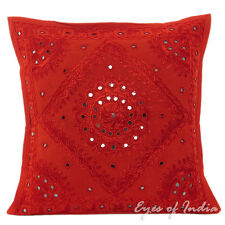 """16/20/24"""" RED MIRROR EMBROIDERED DECORATIVE CUSHION PILLOW COVER Boho India Deco"""