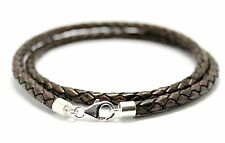 MENS/LADIES 5mm BRAIDED LEATHER NECKLACE-STERLING SILVER CLASP-ANTIQUE BROWN