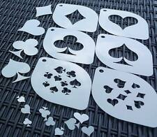Lot 6 in 1set Gambling Cards Spades Hearts Diamonds Clubs Airbrush Stencils Body