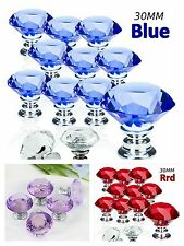 Diamond Crystal Door Handles Knobs+Screws Drawer Furniture Purple Red Blue 30MM