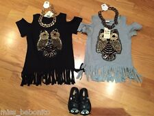 Baby Girl Sequinned Owl T-Shirt Bare Shoulder Top Birthday Gift Blouse Tunic 1-7