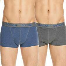 "HOM Mens HO1 ""Boxerlines"" Boxer Brief, Short Trunk 2-Pack, H01 Grey+Blue Stripe"