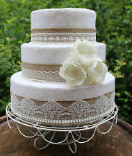 Wedding Cake Topper Set~Hessian, Vintage Lace, Wild Roses & Pearls~Burlap