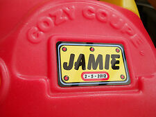 little tikes cozy coupe personalised name number plate,100 x 60mm, ride in cars