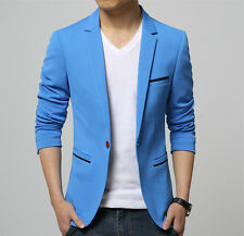 Mens Korean slim fit cotton blazer Wedding dress  Sky Blue