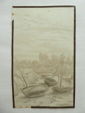 JOLI DESSIN CRAYON MER BRETAGNE PAYSAGE PORNIC VOILIER MAURICE DARNEY (21)