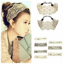Retro Wide Hollow Flower Headband Headwraps Lace Hair Band Accessories